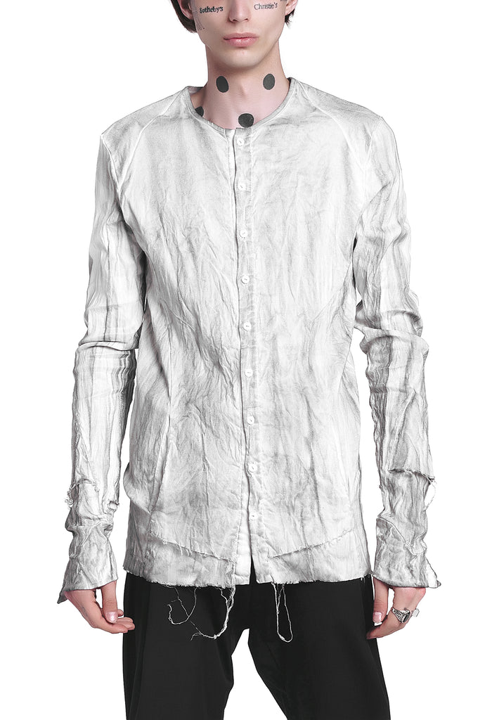 Raw-Cut Hand-Painted Linen Shirt