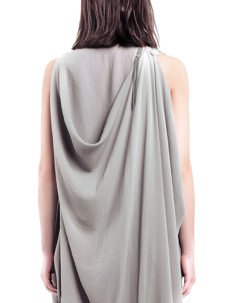 Asymmetric Drape Beige Dress