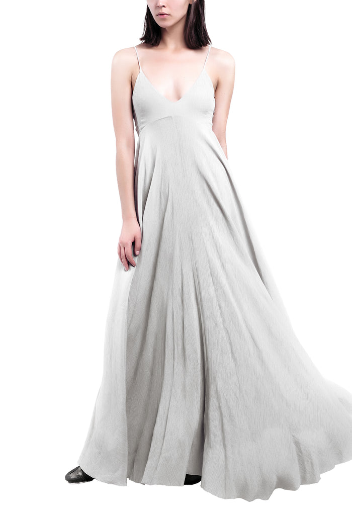 V-Neck Maxi Grey Dress