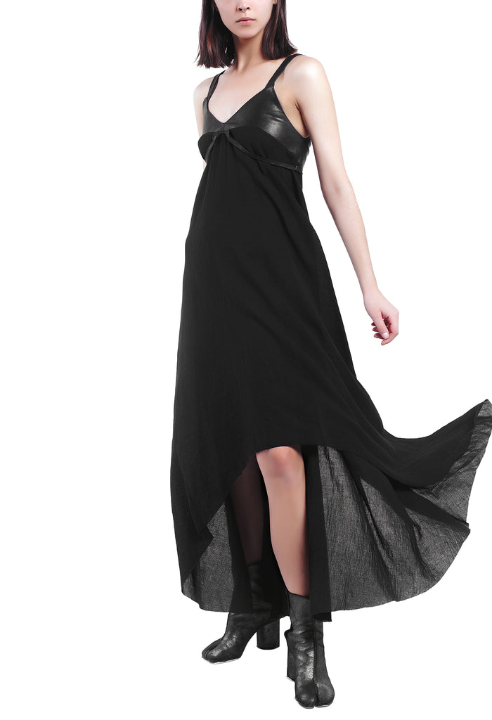 Leather-Detailed Asymmetric Dress