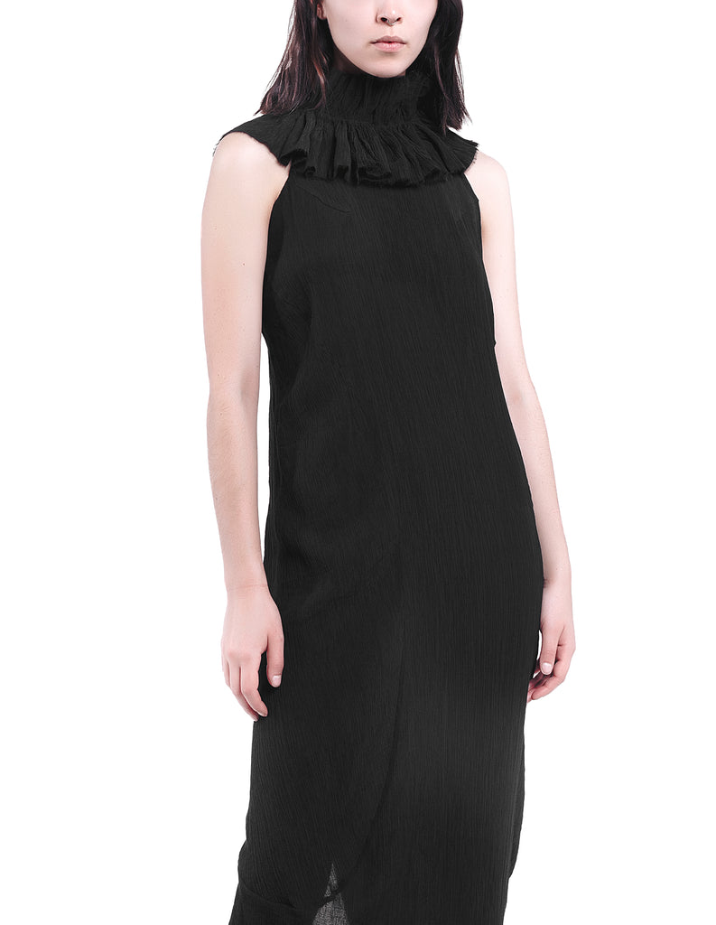 Ruffle-Collar Textured Cotton Dress