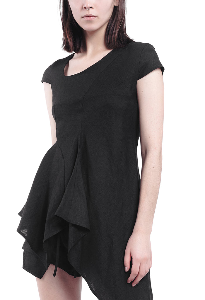 Ruffled Asymmetric Linen Top