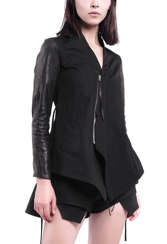Leather Sleeves Asymmetric Zip Jacket