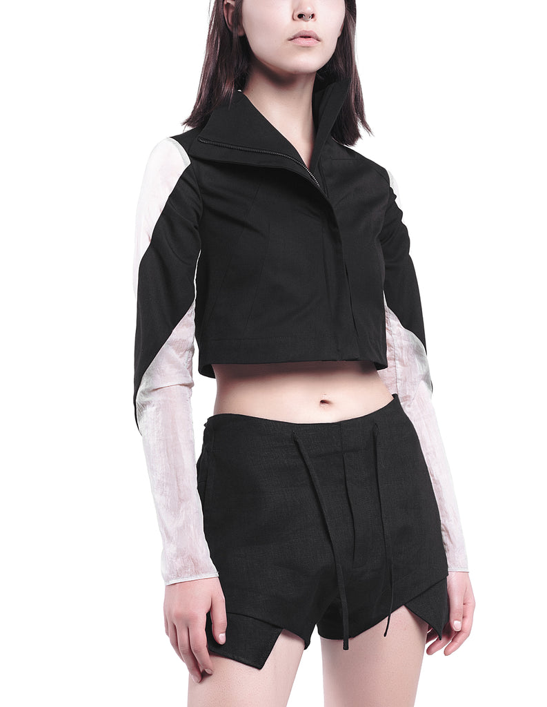 High-Neck Cropped Cotton Jacket