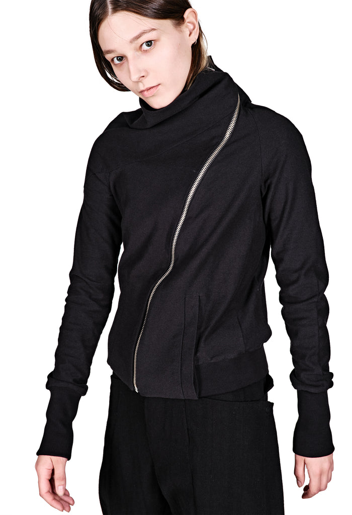 Asymmetrical Zip Cotton Jacket
