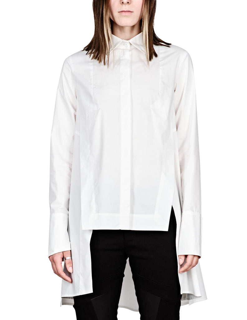 Step-Hem Cotton-Poplin Shirt