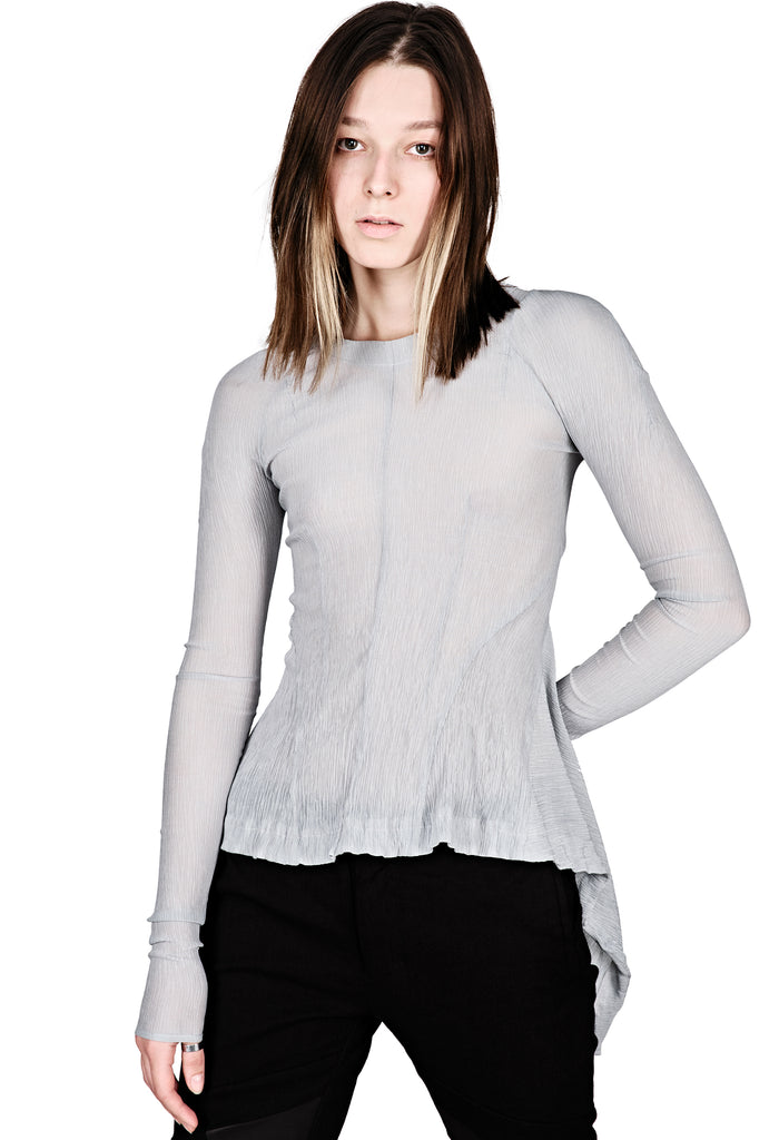 Asymmetric Transparent Grey Top