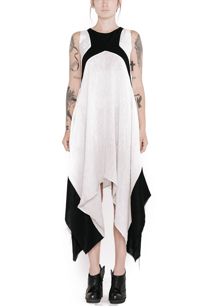 Cross Front Draped Muslin Linen Dress
