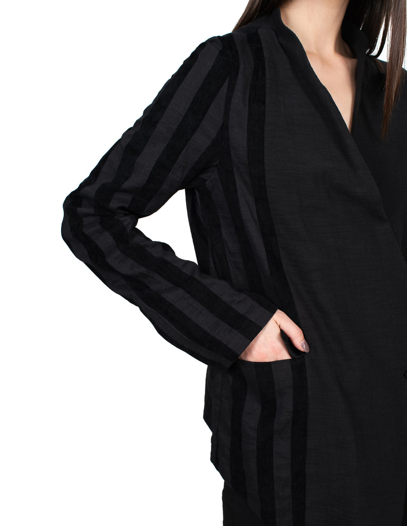 Asymmetric Striped Jacket
