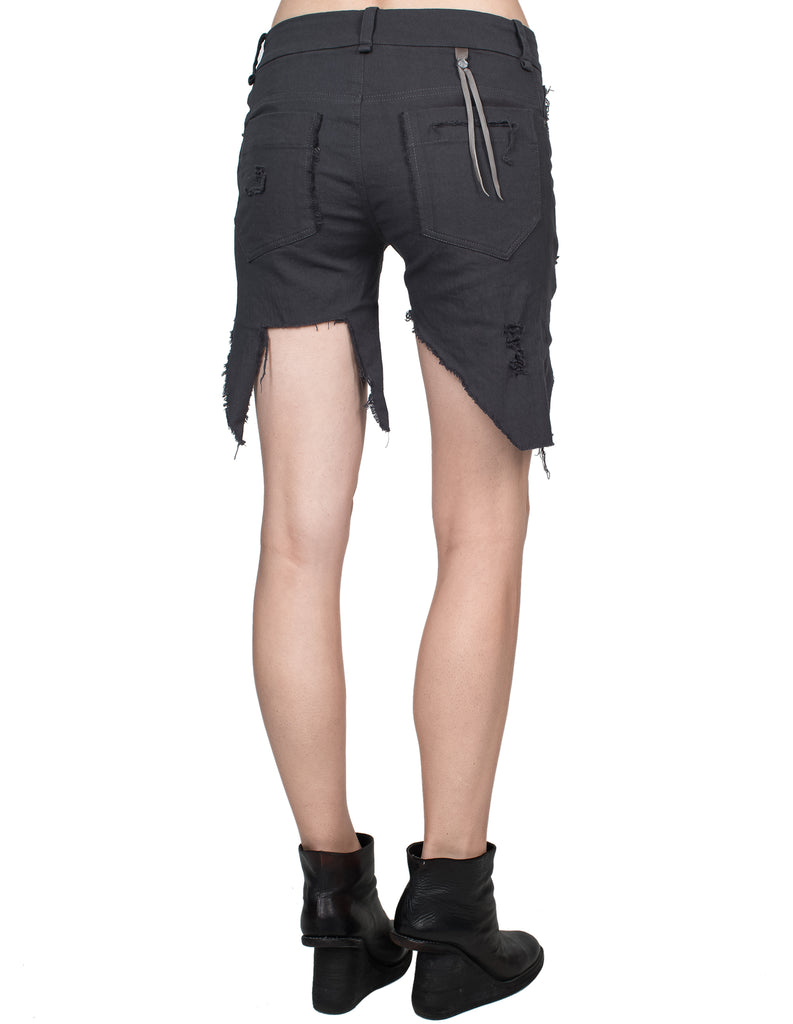 Asymmetrical Front Grey Denim Shorts