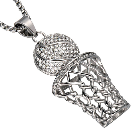 Iced Out Basketball Pendant Necklace