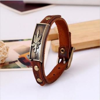 Alloy Leather Bracelet Maple Leaf Bracelet