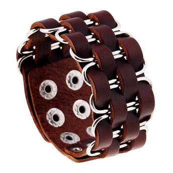 Jewelry High Quality Wide Bangle Rivet Alloy Leather Bracelets