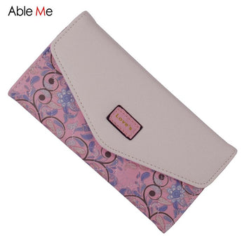 Ladies Wallet Female Famous Brand Purse Women Envelope 3 Folded Flowers Printed Purse