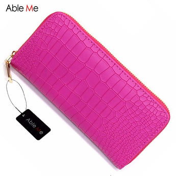 Fashion Women Purses Vintage Alligator Wallet Zipper Clutch Bag