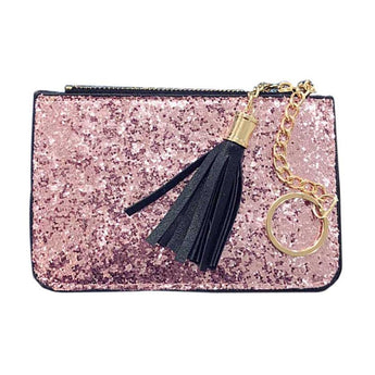 Ladies handbags leather Sequins tassel Wallet