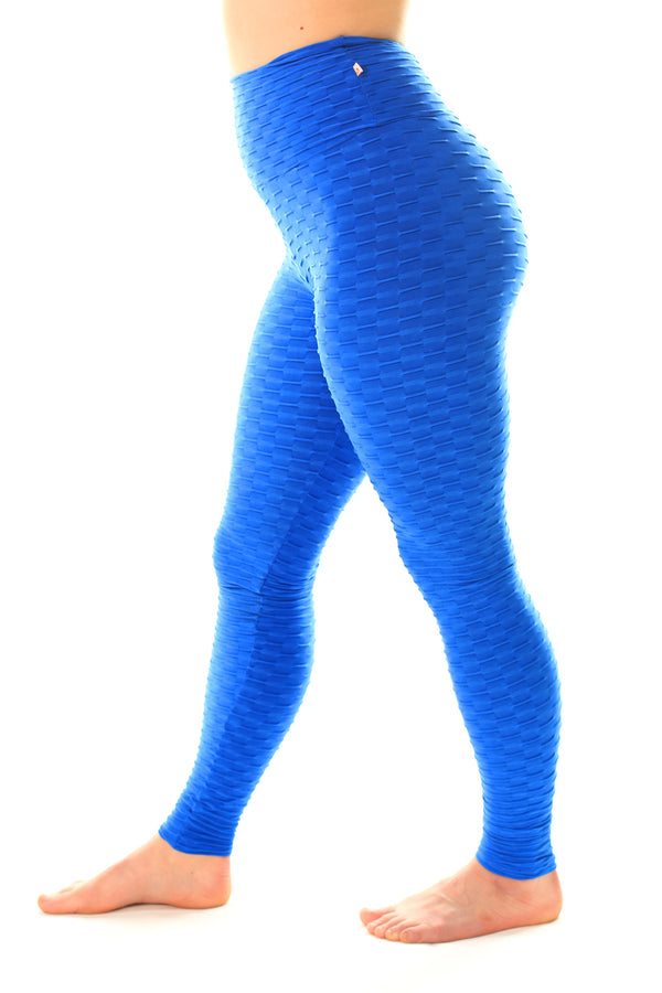 MId-Rise Textured Leggings Royal Blue