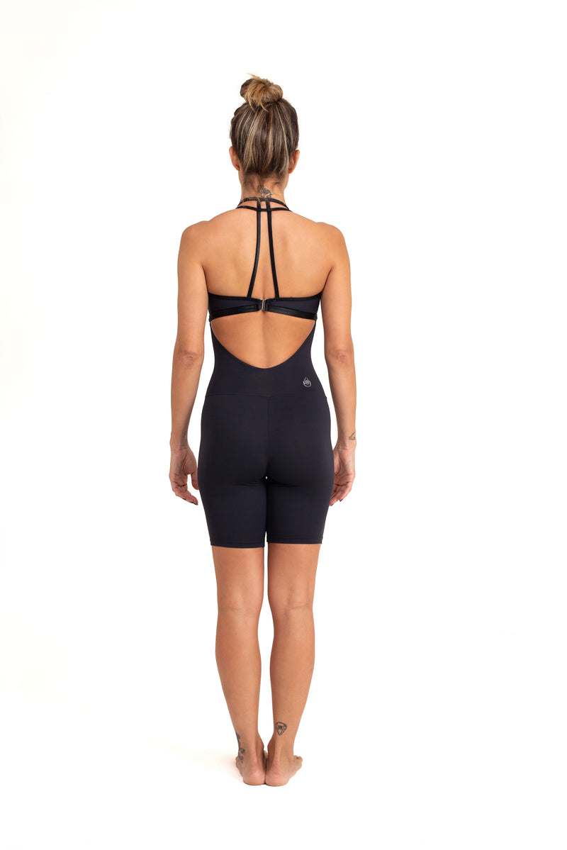 Sarasvati Short  Unitard, Black With Shiny Trim