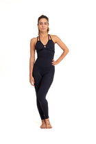 Sarasvati Legging  Unitard, Black With Shiny Trim