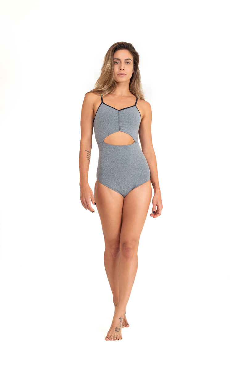 Layla  Leotard Mixed Grey with Shiny Trim