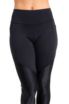 Durga  Leggings,  Black Duo Fabric (ribbed & smooth)