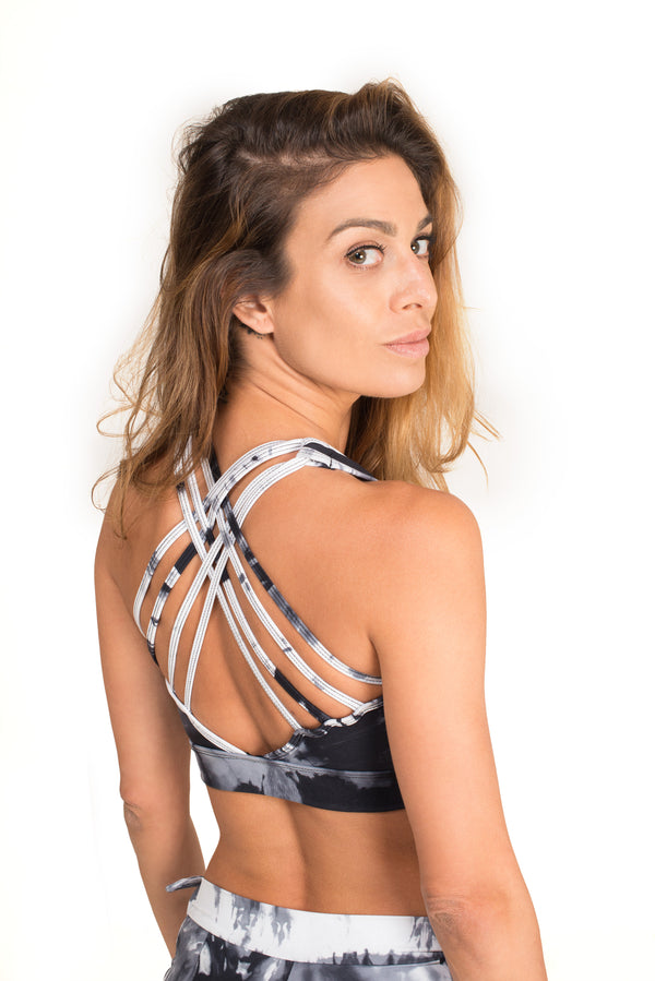 Cool Back  Top, Tie Dye Black
