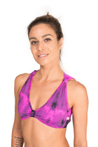 Romantic Vest  Top, Tie dye Purple