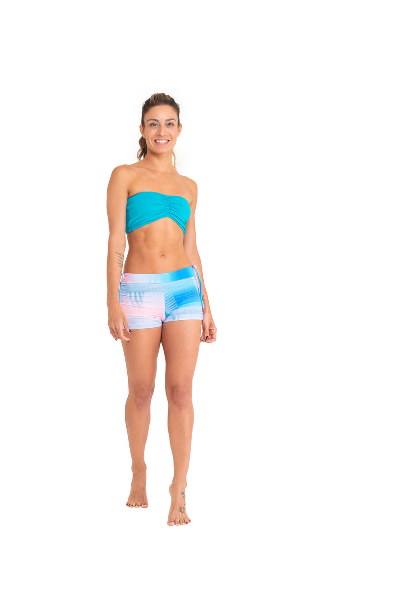 Side String Shorts, Blue & Pink Art