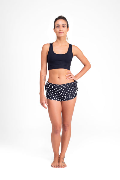 Side String Shorts  Polka Dots Black Eco.