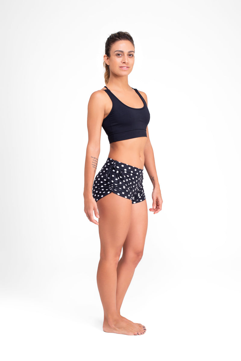Side String Shorts  Polka Dots Black Eco