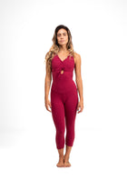 Open Back  Capri Unitard Red Wine