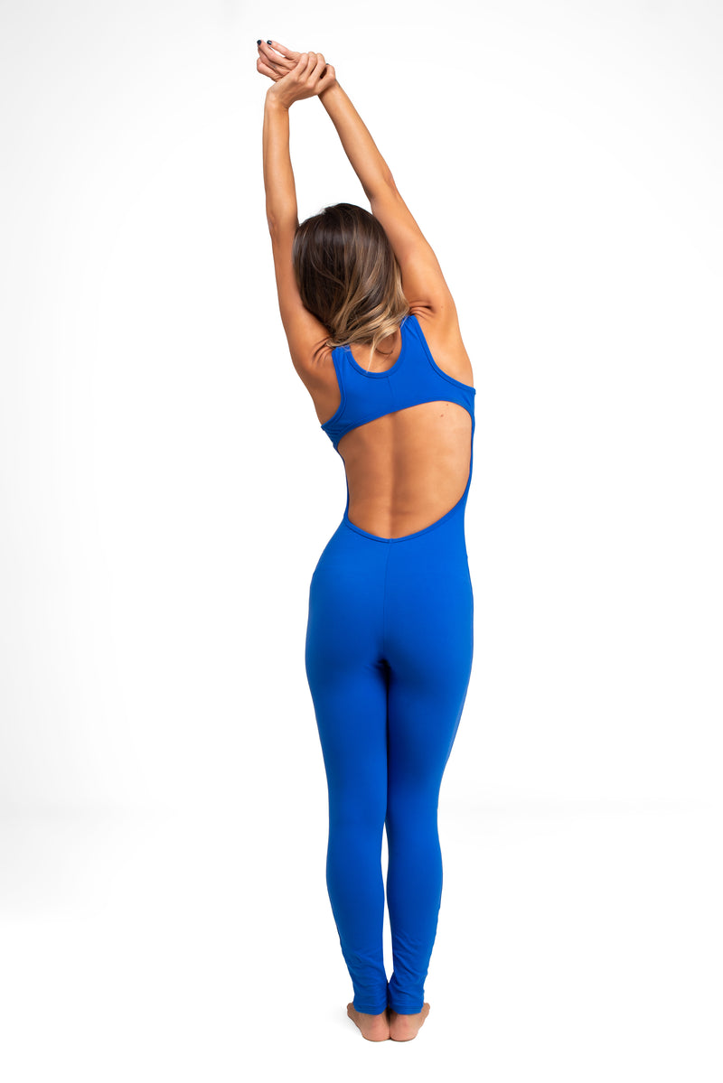 Open Back  Legging  Unitard Royal Blue