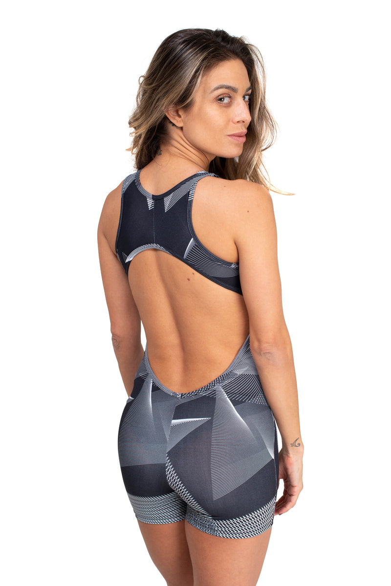 Open Back  Short Unitard Stalactites