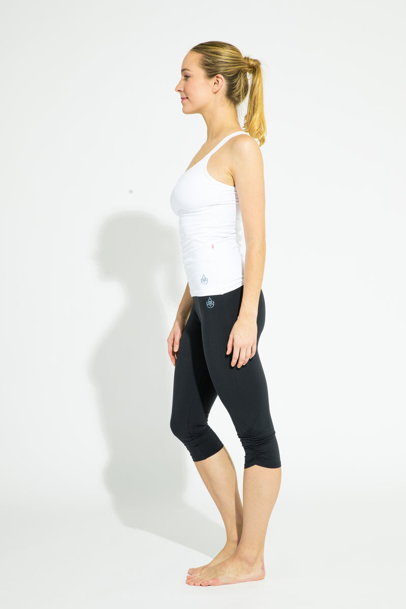 Gathered Leg Capri Black