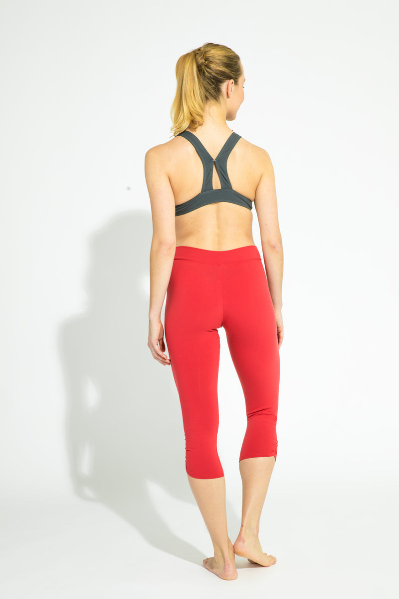Gathered Leg Capri Apple Red