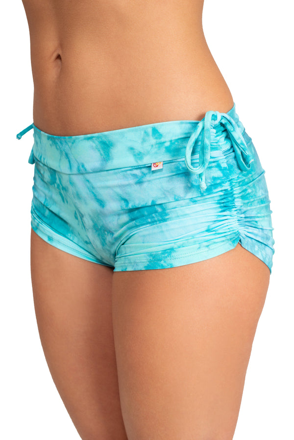 Side String Shorts, Teal Tie Dye
