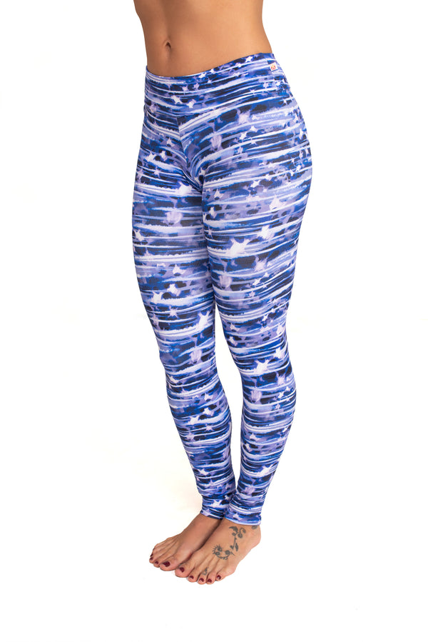 Mid- Rise  Legging, Blue Water Color Lines