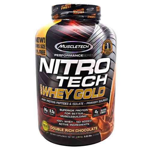 Muscletech Performance Series Nitro Tech 100% Whey Gold - Double Rich Chocolate - 5.5 lb - 631656710496