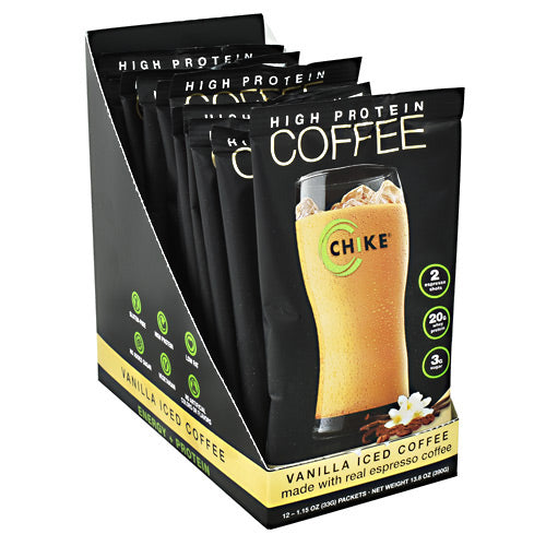 Chike Nutrition High Protein Coffee - Vanilla Iced Coffee - 12 Packets - 185689000432