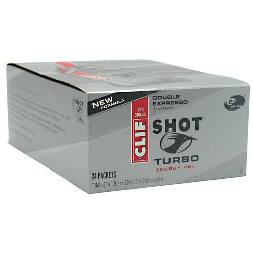 Clif Bar Shot Turbo Energy Gel - Double Expresso - 24 Packets - 722252276261