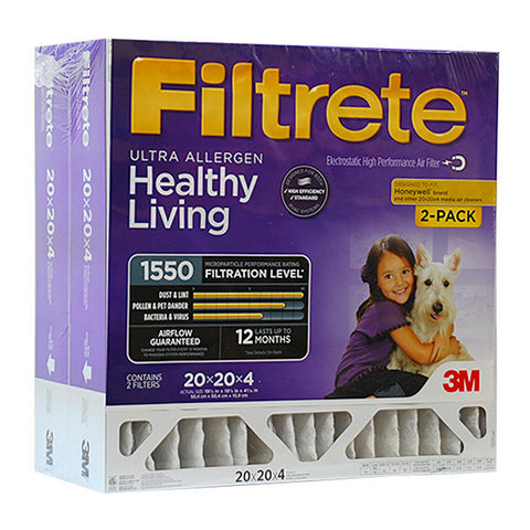 Filtrete 20x20x4 Ultra Allergen Filter for Honeywell - 2 PACK