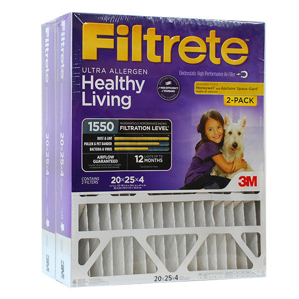 Filtrete 20x25x4 Ultra Allergen Filter for Aprilaire, Honeywell - 2 PACK