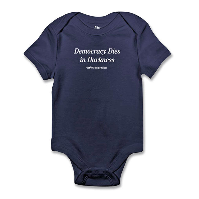 'Democracy Dies in Darkness' Washington Post Baby Onesie (navy)