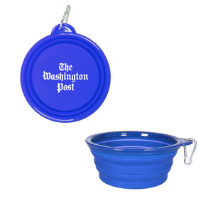 Washington Post travel pet bowl in royal blue