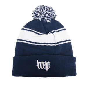 Washington Post (WP) striped winter beanie hat with pom pom