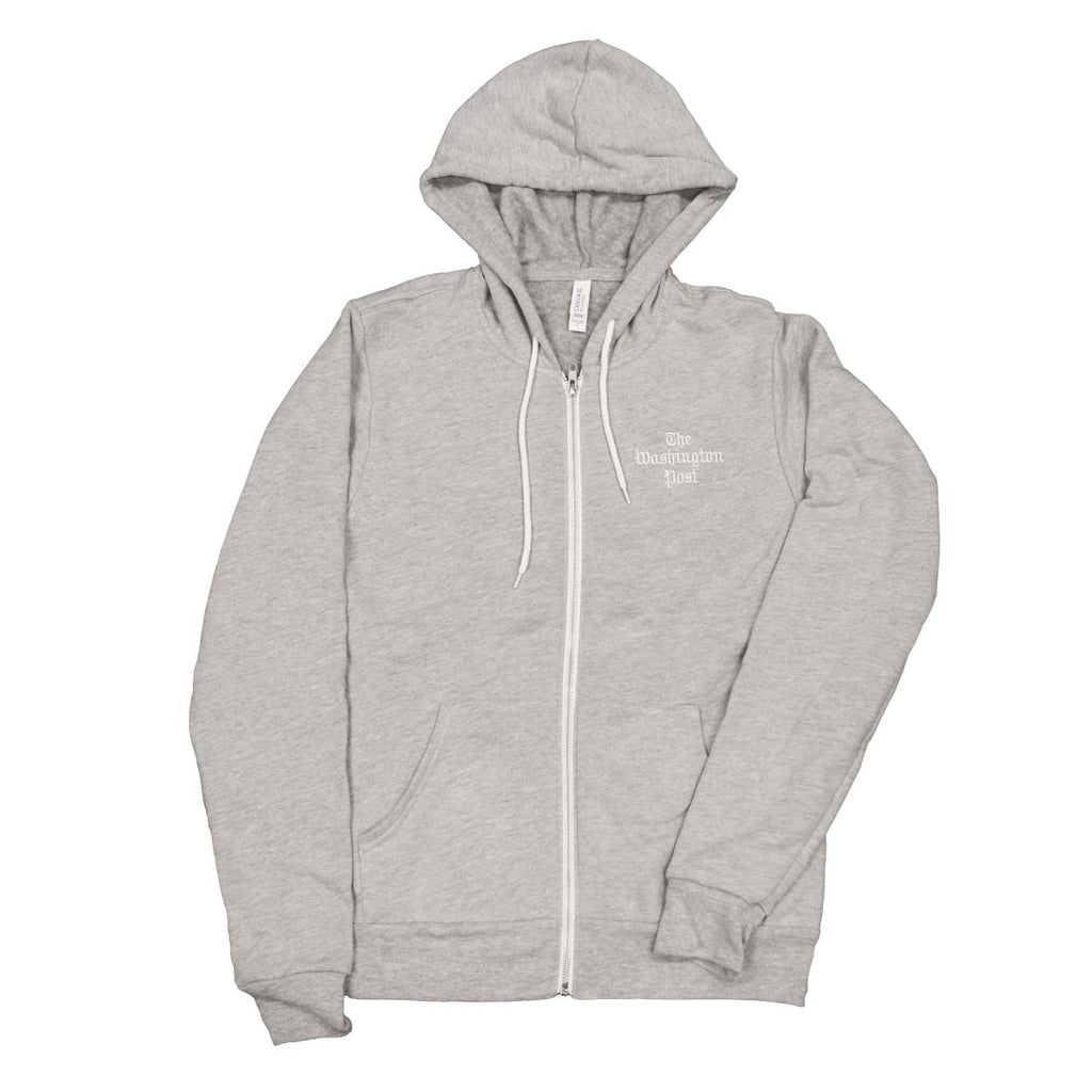 Washington Post logo hoodie in heather grey
