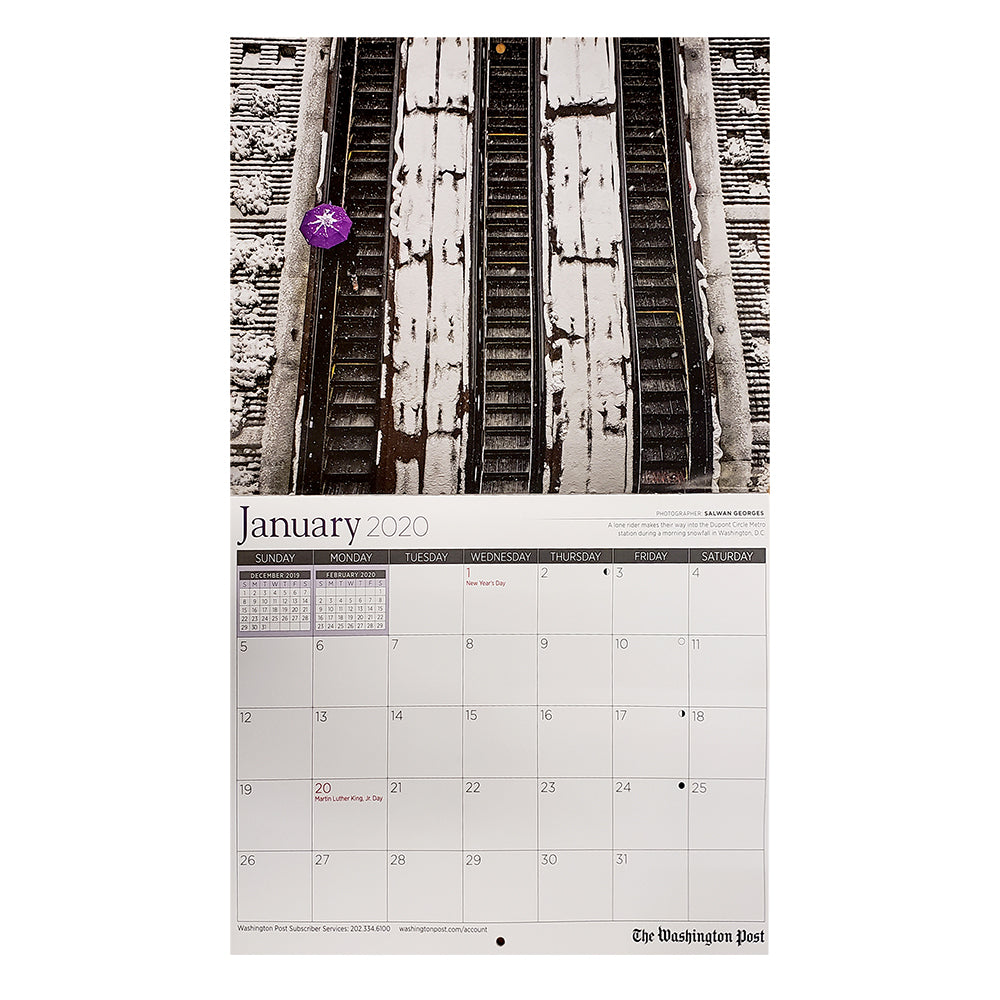 Washington Post 2020 wall calendar detail