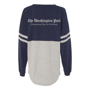 Navy and grey spirit jersey with The Washington Post logo and tagline across the back