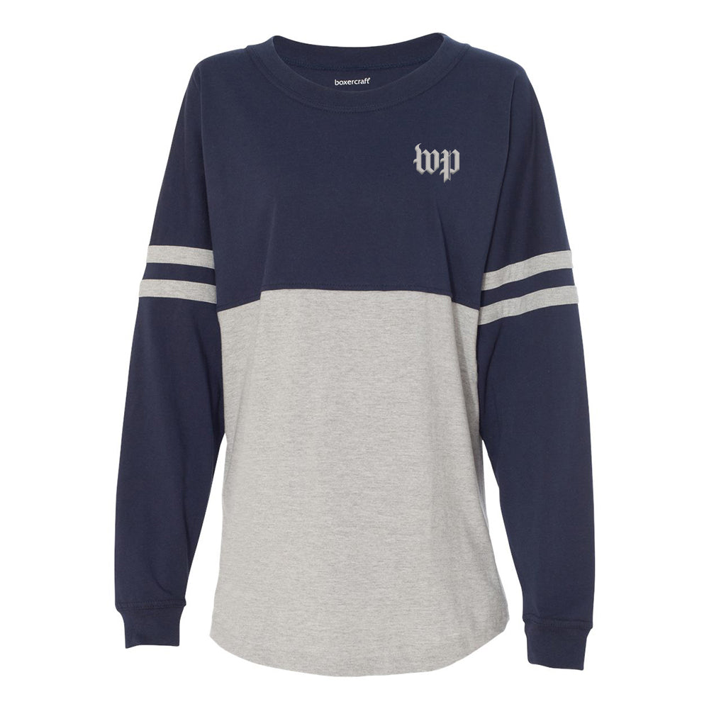 Navy and Grey spirit jersey with WP logo on front