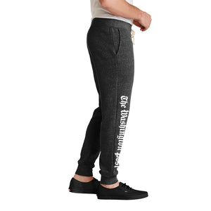 Grey jogging pants with The Washington Post logo down the leg